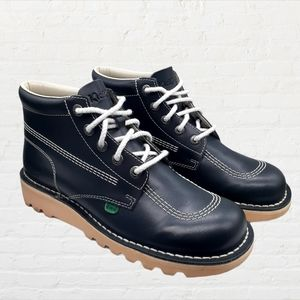 Kickers Boots Kick Hi Leather Shoes Lace Up Navy